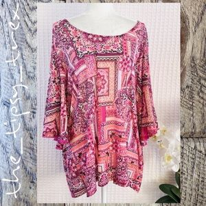 Cato Mesh Print Top with Flutter Sleeves 26/28W